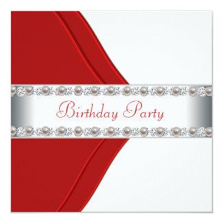 A festa de aniversário elegante da mulher branca e convite quadrado 13.35 x 13.35cm
