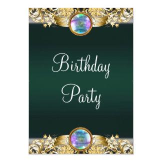 A festa de aniversário esmeralda da mulher do ouro convite 12.7 x 17.78cm