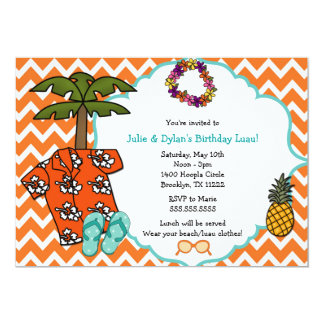 A festa de aniversário havaiana de Luau convida o Convite 12.7 X 17.78cm
