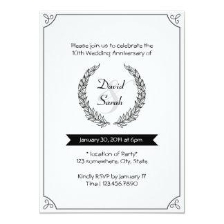 A festa de aniversário preta & branca do casamento convite 12.7 x 17.78cm