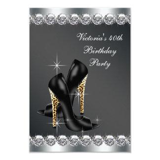 A festa de aniversário preta chique da mulher convite 8.89 x 12.7cm