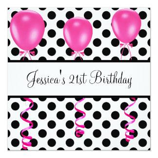 A festa de aniversário preta & o branco mancham convite quadrado 13.35 x 13.35cm