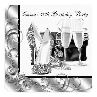 A festa de aniversário preto e branco da mulher convite quadrado 13.35 x 13.35cm