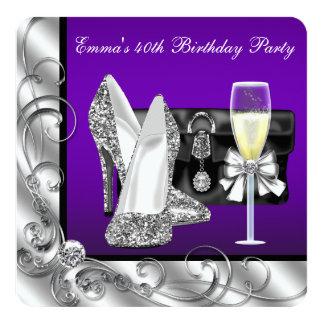 A festa de aniversário roxa da mulher convite quadrado 13.35 x 13.35cm
