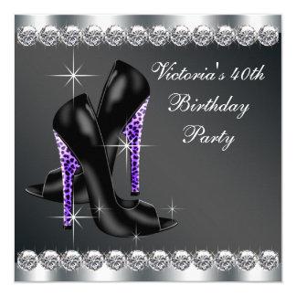 A festa de aniversário roxa elegante da mulher convite quadrado 13.35 x 13.35cm