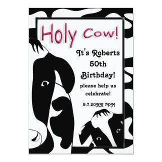 A festa de aniversário santamente engraçada da convite 12.7 x 17.78cm