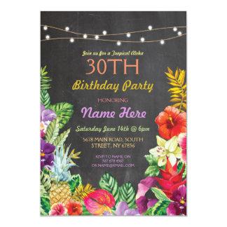 A festa de aniversário tropical do giz de Luau Convite 12.7 X 17.78cm
