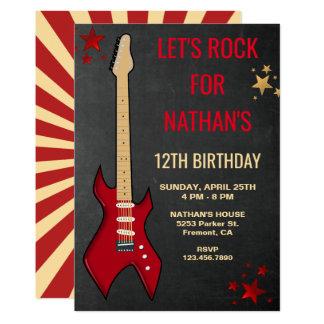 A festa de aniversário vermelha de Rockstar da Convite 12.7 X 17.78cm