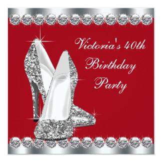 A festa de aniversário vermelha elegante da mulher convite quadrado 13.35 x 13.35cm
