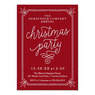 A festa de Natal anual do quadro rústico convida Convite 12.7 X 17.78cm