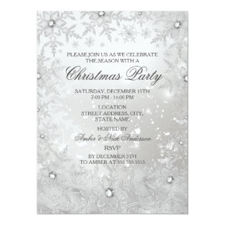 A festa de Natal de cristal de prata do floco de Convite 16.51 X 22.22cm