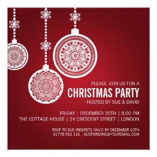 A festa de Natal elegante Ornaments o vermelho Convites Personalizado