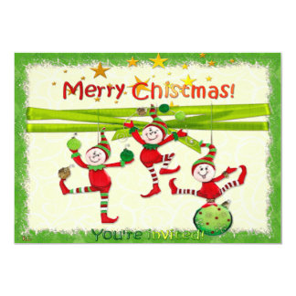 A festa de Natal/evento festivos dos duendes Convite 12.7 X 17.78cm