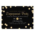 A festa de noivado dos confetes do ouro do falso c convites personalizados