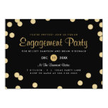 A festa de noivado dos confetes do ouro do falso convites personalizados