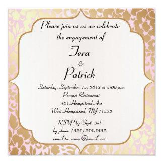 A festa de noivado dourada metálica do rosa convite quadrado 13.35 x 13.35cm