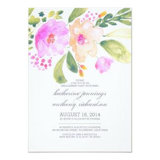 a festa de noivado floral da aguarela convida convite 12.7 x 17.78cm