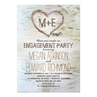 A festa de noivado rústica do coração da árvore de convite 12.7 x 17.78cm
