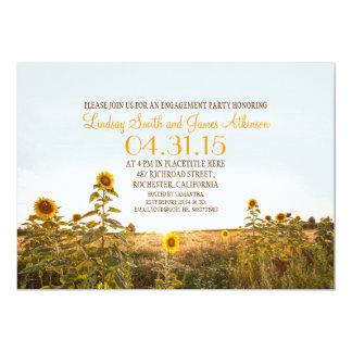 A festa de noivado rústica do país dos girassóis convite 12.7 x 17.78cm