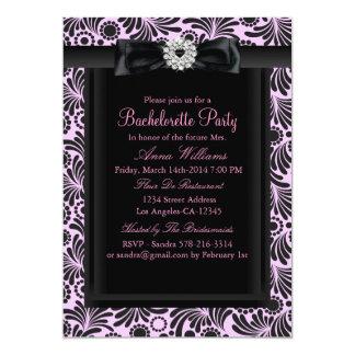 A festa de solteira chique cor-de-rosa & preta convite 12.7 x 17.78cm