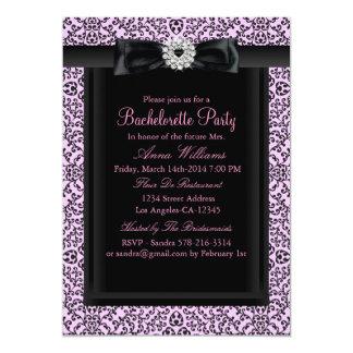 A festa de solteira chique cor-de-rosa & preta do convite 12.7 x 17.78cm