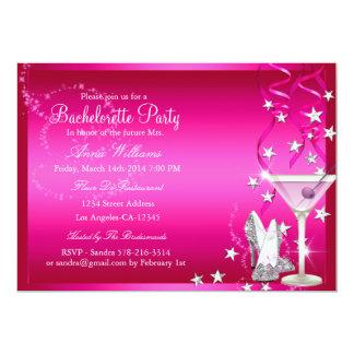 A festa de solteira cor-de-rosa da faísca convida convite 12.7 x 17.78cm