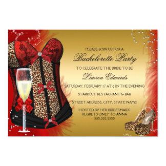A festa de solteira do espartilho do impressão do convite 12.7 x 17.78cm