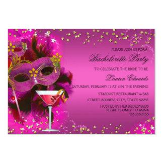 A festa de solteira do mascarada da máscara da convite 12.7 x 17.78cm