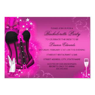 A festa de solteira do rosa do espartilho da pena convite 12.7 x 17.78cm