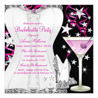 A festa de solteira do rosa do preto do espartilho convite quadrado 13.35 x 13.35cm