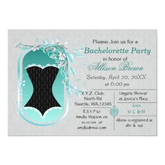 a festa de solteira elegante do espartilho preto convite 12.7 x 17.78cm