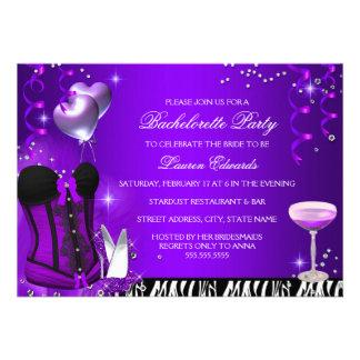 A festa de solteira roxa do espartilho da zebra convites personalizado