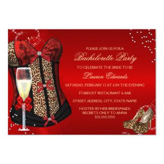 A festa de solteira vermelha do espartilho do convite 12.7 x 17.78cm