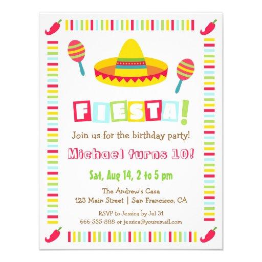 A festa mexicana do Sombrero colorido caçoa o Convites Personalizados