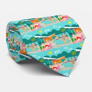 A festa na piscina alegre retro telhou a gravata