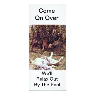 A festa na piscina convida convite 10.16 x 23.49cm