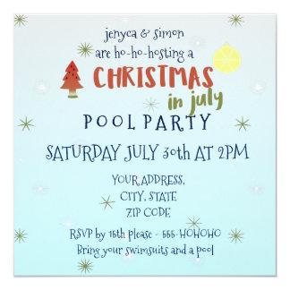 A festa na piscina do Natal em julho convida Convite Quadrado 13.35 X 13.35cm