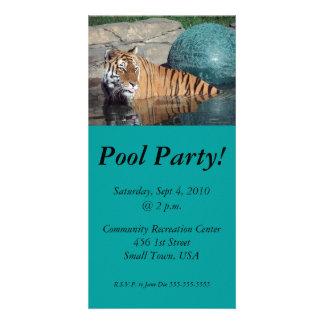 A festa na piscina do tigre de Bengal convida o ca Cartão Com Foto