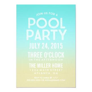 A festa na piscina do verão da areia de Ombre de Convite 12.7 X 17.78cm