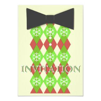 A festa natalícia do Natal do laço convida Convite 12.7 X 17.78cm