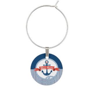 A fita náutica da corda da âncora listra o azul marcadores de taças