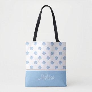 A flor azul da aguarela floresce   personalizada bolsas tote