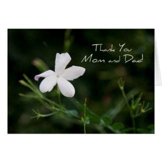 A flor branca Parents cartões de agradecimentos do