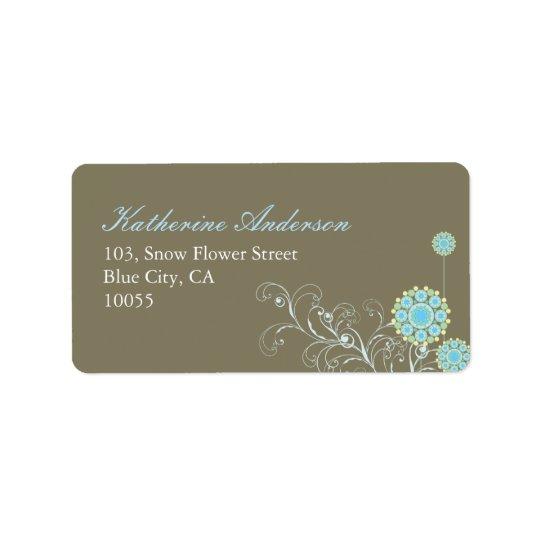 a flor da neve do fatfatin roda etiqueta de etiqueta de endereço