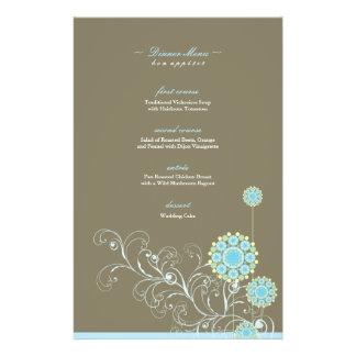 A flor da neve roda insecto azul do ~ do menu do flyer 13.97 x 21.59cm