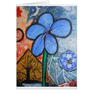 A flor de brilho cartão comemorativo
