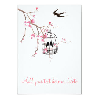 A flor de cerejeira, birdcage, cartão do pássaro, convite 12.7 x 17.78cm