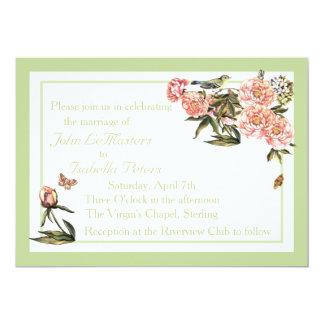 A flor elegante e a borboleta verdes e cor-de-rosa convite 12.7 x 17.78cm