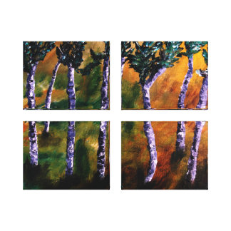 A floresta do vidoeiro almofada canvas impressão de canvas envolvidas