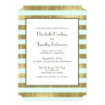 A folha de ouro azul listra o convite do casamento convite 12.7 x 17.78cm